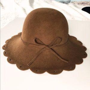 San Diego Hat Co. scallop wool floppy brown  hat